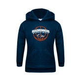 Youth Navy Fleece Hoodie-Roadrunners Basketball Arched