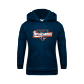 Youth Navy Fleece Hoodie-Roadrunners Baseball Script w/ Plate