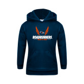 Youth Navy Fleece Hoodie-Roadrunners Track & Field Wings
