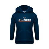 Youth Navy Fleece Hoodie-Volleyball Bar