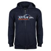 Navy Fleece Full Zip Hoodie-UTSA Roadrunners w/ Head Flat