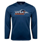 Performance Navy Longsleeve Shirt-UTSA Roadrunners w/ Head Flat