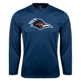 Performance Navy Longsleeve Shirt-Roadrunner Head