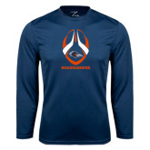 Performance Navy Longsleeve Shirt-Roadrunners Football Vertical