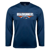 Performance Navy Longsleeve Shirt-Roadrunners Football Horizontal
