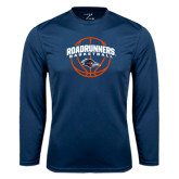 Performance Navy Longsleeve Shirt-Roadrunners Basketball Arched