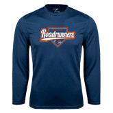 Performance Navy Longsleeve Shirt-Roadrunners Baseball Script w/ Plate