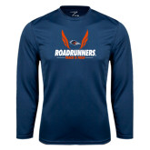 Performance Navy Longsleeve Shirt-Roadrunners Track & Field Wings