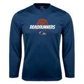 Performance Navy Longsleeve Shirt-Roadrunners Volleyball Geometric Ball