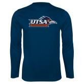 Performance Navy Longsleeve Shirt-UTSA Roadrunners w/ Head Flat