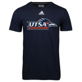 Adidas Climalite Navy Ultimate Performance Tee-UTSA Roadrunners w/ Head Flat