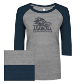 ENZA Ladies Athletic Heather/Navy Vintage Triblend Baseball Tee-Primary Logo Graphite Glitter