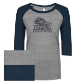 ENZA Ladies Athletic Heather/Navy Vintage Triblend Baseball Tee-Primary Logo Graphite Glitter