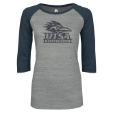 ENZA Ladies Athletic Heather/Navy Vintage Baseball Tee-Primary Glitter Graphite Soft