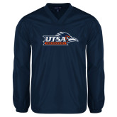 V Neck Navy Raglan Windshirt-UTSA Roadrunners w/ Head Flat
