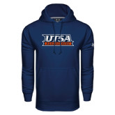 Under Armour Navy Performance Sweats Team Hood-UTSA Roadrunners Stacked