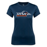Ladies Syntrel Performance Navy Tee-UTSA Roadrunners w/ Head Flat