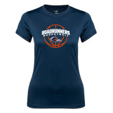 Ladies Syntrel Performance Navy Tee-Roadrunners Basketball Arched