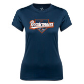 Ladies Syntrel Performance Navy Tee-Roadrunners Baseball Script w/ Plate