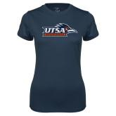Ladies Syntrel Performance Navy Tee-UTSA Roadrunners w/ Head Flat