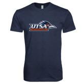 Next Level Vintage Navy Tri Blend Crew-UTSA Roadrunners w/ Head Flat