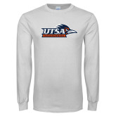 White Long Sleeve T Shirt-UTSA Roadrunners w/ Head Flat