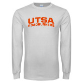 White Long Sleeve T Shirt-Arched UTSA