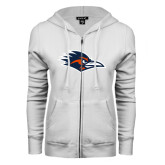 ENZA Ladies White Fleece Full Zip Hoodie-Roadrunner Head