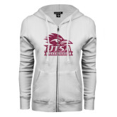 ENZA Ladies White Fleece Full Zip Hoodie-Primary Logo Pink Glitter