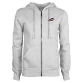 ENZA Ladies White Fleece Full Zip Hoodie-UTSA Roadrunners w/ Head Flat