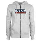 ENZA Ladies White Fleece Full Zip Hoodie-UTSA Roadrunners Stacked