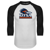 White/Black Raglan Baseball T Shirt-Primary Logo