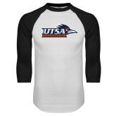 White/Black Raglan Baseball T Shirt-UTSA Roadrunners w/ Head Flat