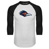 White/Black Raglan Baseball T Shirt-Roadrunner Head