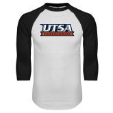 White/Black Raglan Baseball T Shirt-UTSA Roadrunners Stacked