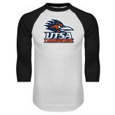 White/Black Raglan Baseball T Shirt-Primary Logo Distressed