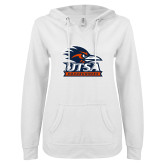 ENZA Ladies White V Notch Raw Edge Fleece Hoodie-Primary Logo