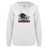 ENZA Ladies White V Notch Raw Edge Fleece Hoodie-Volleyball