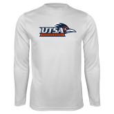 Performance White Longsleeve Shirt-UTSA Roadrunners w/ Head Flat