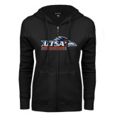 ENZA Ladies Black Fleece Full Zip Hoodie-UTSA Roadrunners w/ Head Flat