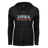 ENZA Ladies Black Fleece Full Zip Hoodie-UTSA Roadrunners Stacked