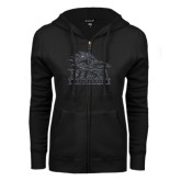 ENZA Ladies Black Fleece Full Zip Hoodie-Primary Logo Graphite Glitter