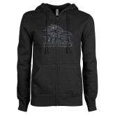 ENZA Ladies Black Fleece Full Zip Hoodie-Primary Glitter Graphite Soft