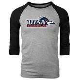 Grey/Black Tri Blend Baseball Raglan-UTSA Roadrunners w/ Head Flat