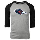 Grey/Black Tri Blend Baseball Raglan-Roadrunner Head