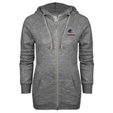 ENZA Ladies Black Marled Full Zip Hoodie-Primary Logo