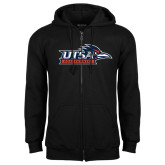 Black Fleece Full Zip Hood-UTSA Roadrunners w/ Head Flat