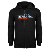 Black Fleece Full Zip Hoodie-UTSA Roadrunners w/ Head Flat