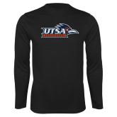 Performance Black Longsleeve Shirt-UTSA Roadrunners w/ Head Flat