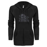 ENZA Ladies Black Light Weight Fleece Full Zip Hoodie-Primary Logo Graphite Glitter
